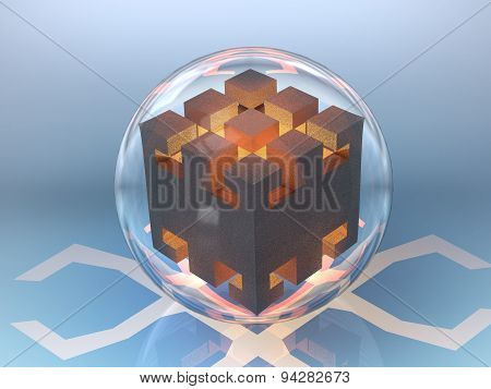 Abstract Drawing Cube In A Glass Bowl In The Fire High Temperature Glow Orange