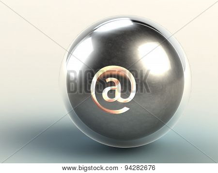 Iron Ball In Glass Sphere With Familiar Internet Address