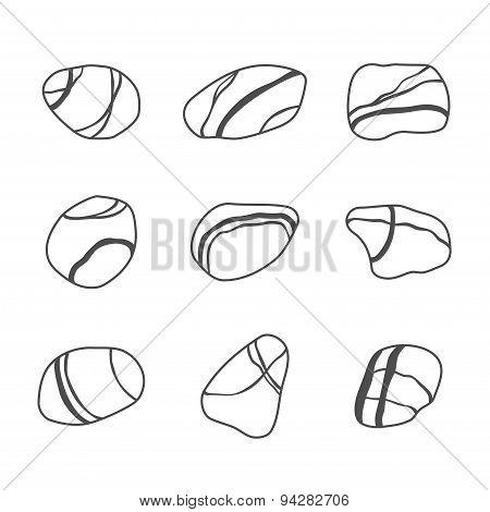 Vector icon set of sea stones