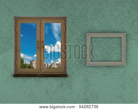 Abstract Texture Of Wall And Floor Green Background Closed Wooden Window Blue Sky Empty Frame On The