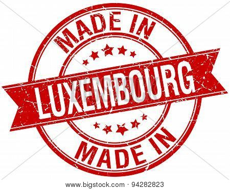 Made In Luxembourg Red Round Vintage Stamp