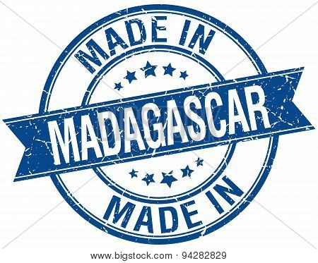 Made In Madagascar Blue Round Vintage Stamp