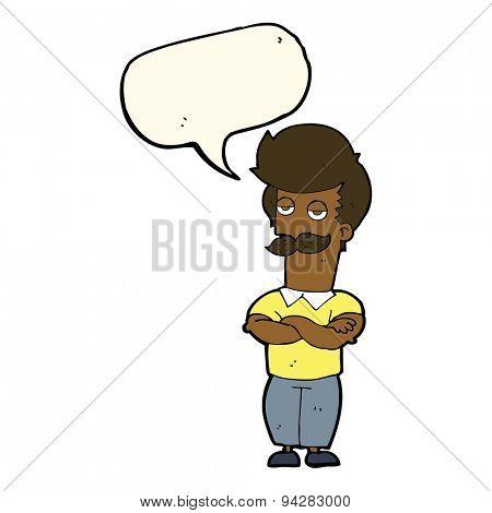cartoon mustache muscle man with speech bubble