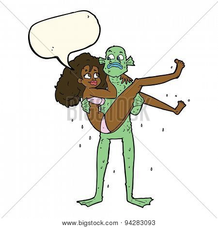 cartoon swamp monster carrying woman in bikini with speech bubble