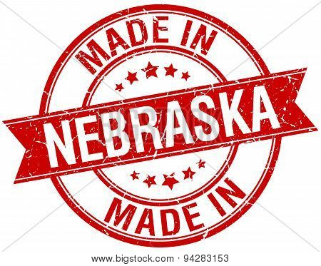 Made In Nebraska Red Round Vintage Stamp