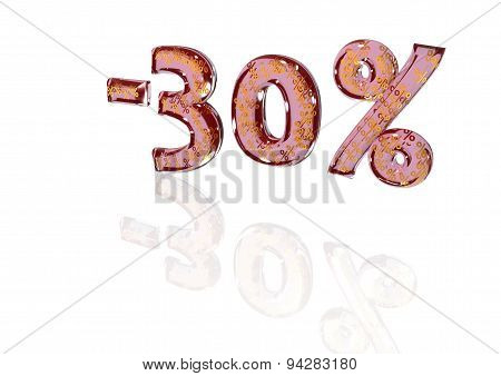 Minus 30 Percent With Gold Percent Signs