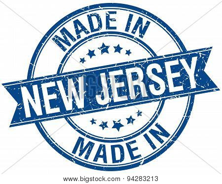 Made In New Jersey Blue Round Vintage Stamp