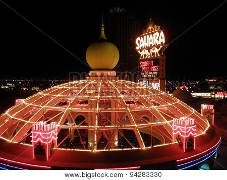 The Sahara Hotel And Casino Lite With Neon Lights And Sign