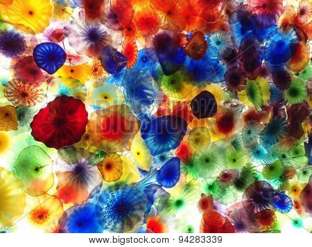 Hand Blown Glass Flower Ceiling At The Bellagio Hotel