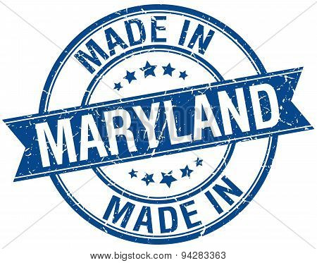 Made In Maryland Blue Round Vintage Stamp