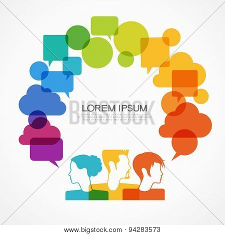 people icons with colorful dialog speech bubbles. This image contains transparency.