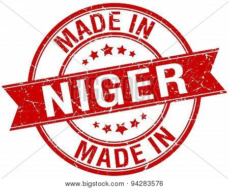 Made In Niger Red Round Vintage Stamp