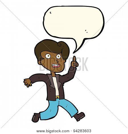 cartoon man with great idea with speech bubble