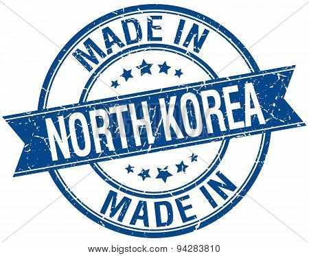 Made In North Korea Blue Round Vintage Stamp