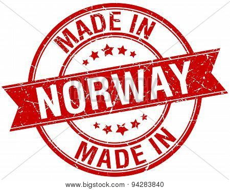 Made In Norway Red Round Vintage Stamp