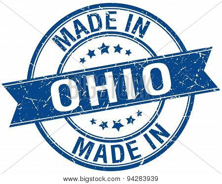 Made In Ohio Blue Round Vintage Stamp