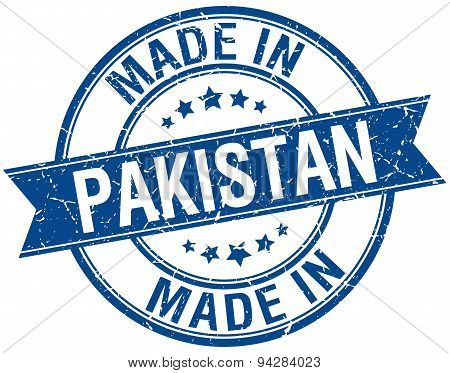 Made In Pakistan Blue Round Vintage Stamp