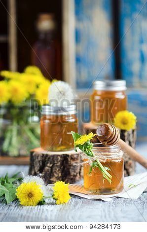 Jar with Syrup of Dandelion's flowers