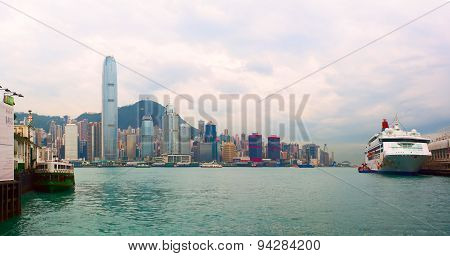 Panoramic view of Junk Bay with colorful skyscraper and cruise ship aside. Hong Kong