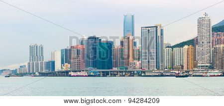 Panoramic view of Junk Bay with colorful skyscraper. Hong Kong