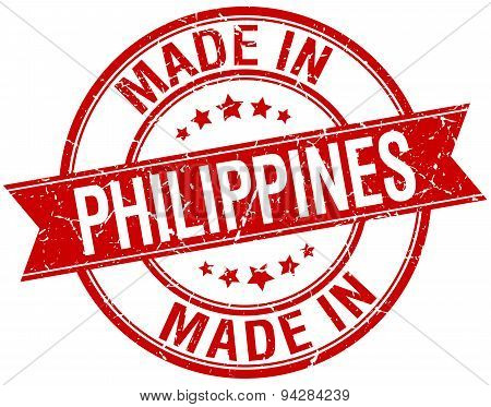 Made In Philippines Red Round Vintage Stamp