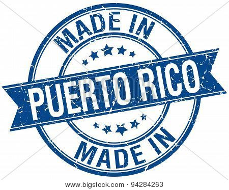 Made In Puerto Rico Blue Round Vintage Stamp