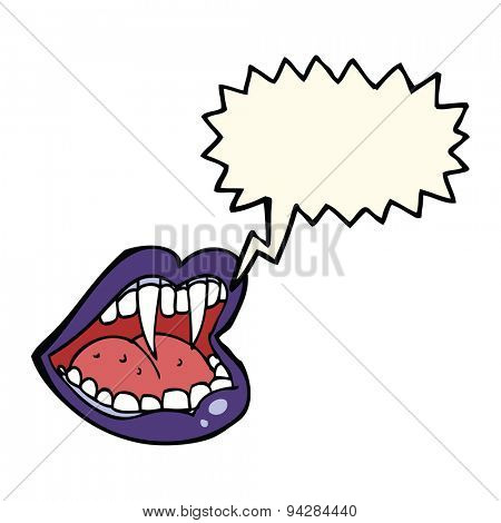 cartoon vampire mouth with speech bubble