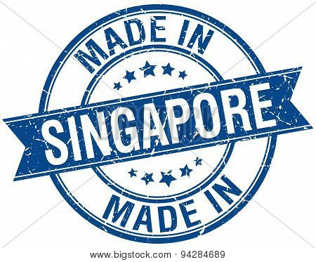 Made In Singapore Blue Round Vintage Stamp