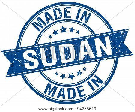 Made In Sudan Blue Round Vintage Stamp