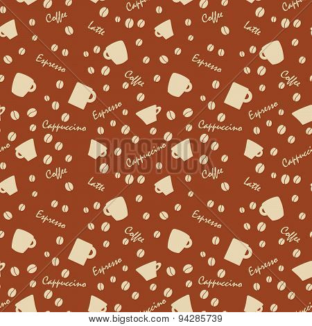 Coffee Cups And Names With Bens, Seamless Background Pattern