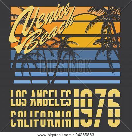 California Venive Beach Typography, T-shirt Printing Design, Summer Vector Badge Applique Label