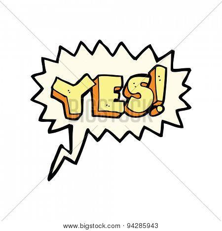 cartoon yes symbol with speech bubble
