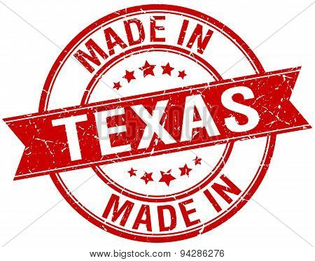 Made In Texas Red Round Vintage Stamp