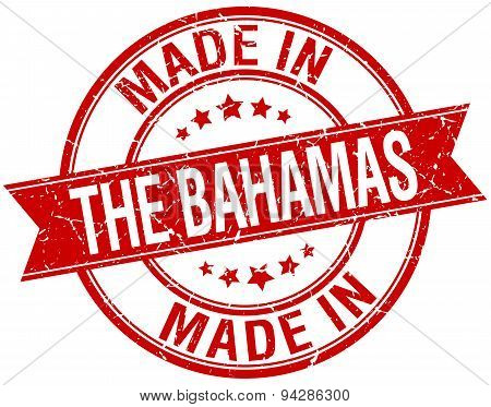 Made In The Bahamas Red Round Vintage Stamp