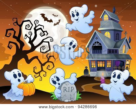 Image with haunted house thematics 7 - eps10 vector illustration.