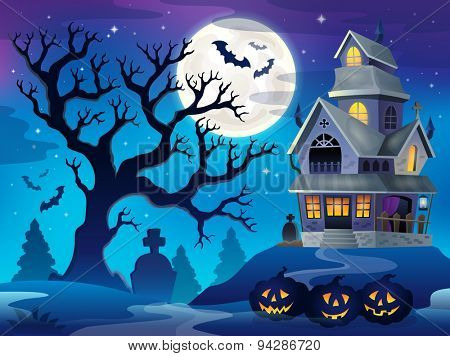 Image with haunted house thematics 6 - eps10 vector illustration.