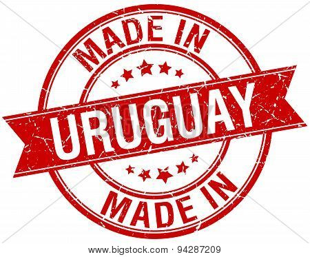 Made In Uruguay Red Round Vintage Stamp