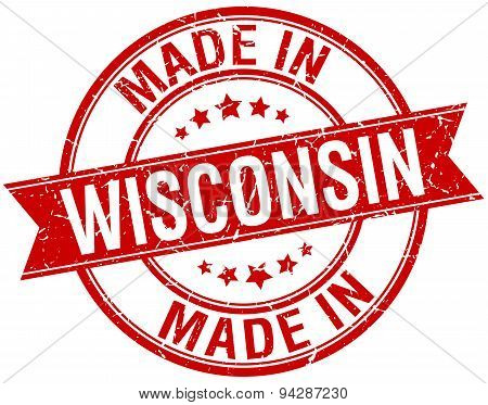 Made In Wisconsin Red Round Vintage Stamp