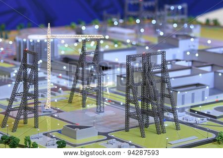 ST. PETERSBURG, RUSSIA - JUNE 20, 2015: 3D model of the Federal Test Center for electrical equipment exposed during the presentation of the project. The event is included in the program of SPIEF 2015