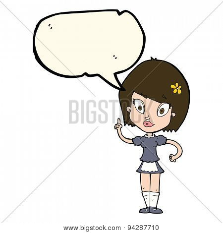 cartoon pretty maid with speech bubble