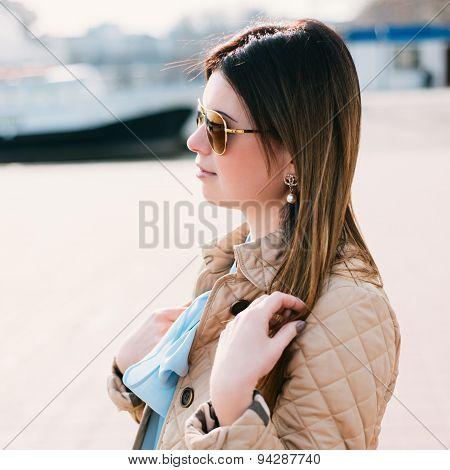 Portrait Of Woman Walking At Coast.