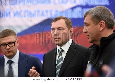 ST. PETERSBURG, RUSSIA - JUNE 20, 2015: General director of JSC Russian Grids Oleg Budargin (center) during the presentation of the project of the Federal Test Center for electrical equipment