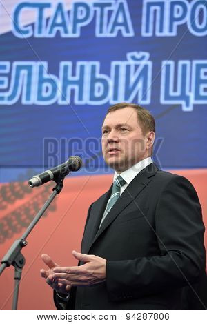 ST. PETERSBURG, RUSSIA - JUNE 20, 2015: General director of JSC Russian Grids Oleg Budargin during the presentation of the project of the Federal Test Center for electrical equipment
