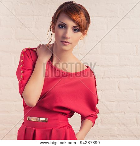 Fashionable Woman Posing In Red Dres