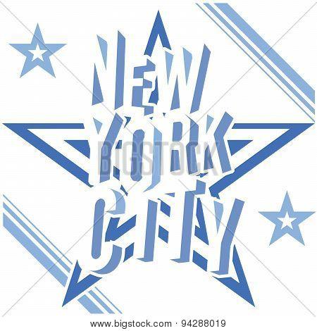 New York City Grunge Typography Poster, T-shirt Printing Design, Vector Badge Applique Label