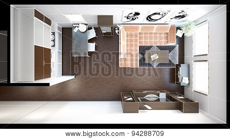 3D Interior Rendering Of A Small Loft With Textures