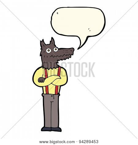 cartoon funny werewolf with speech bubble
