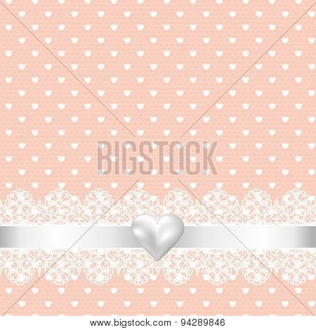 lace fabric background and pearl heart