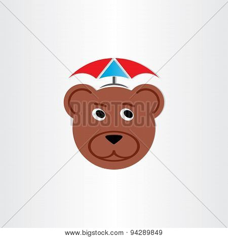 Brown Bear Head With Umbrella