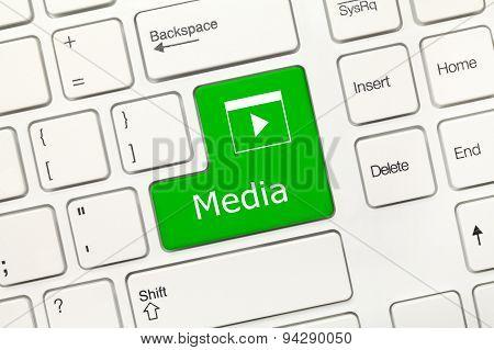 White Conceptual Keyboard - Media (green Key)